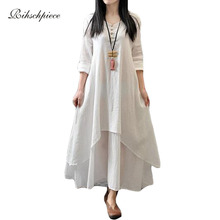 Rihschpiece Vintage Cotton Linen Maxi Dress White Casual Long Plus Size Boho Dress Beach Boho Office Dresees RZF105(China)