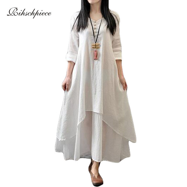 7a43346c138 Rihschpiece Vintage Cotton Linen Maxi Dress White Casual Long Plus Size  Boho Dress Beach Boho Office