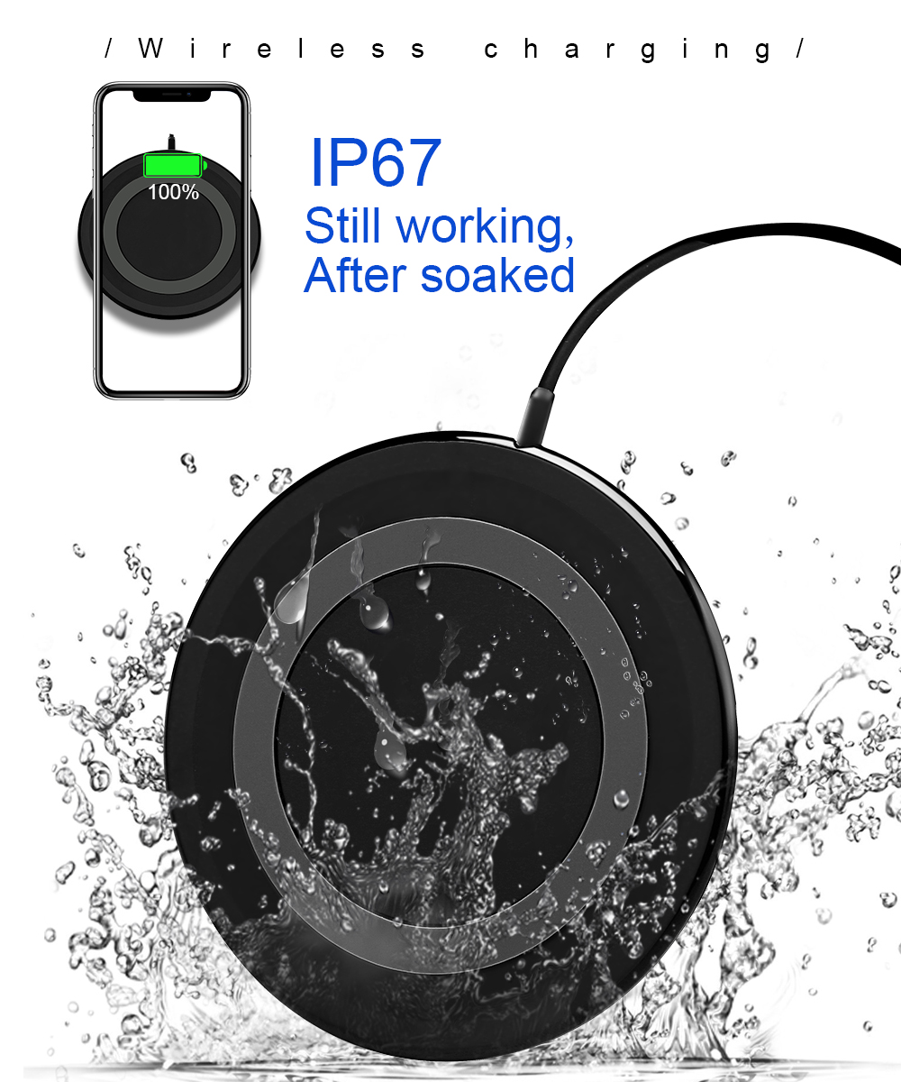 Ascromy 10W Fast Wireless Charging Pad For Samsung Galaxy S9 Plus S8 Note 8 7.5W For iPhone X 8 Plus Waterproof Mini Qi Charger (3)