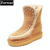 Zorssar 2017 NEW Winter Warm Plush Womens Boots Cow Suede Flat Heel Ankle Snow Boots