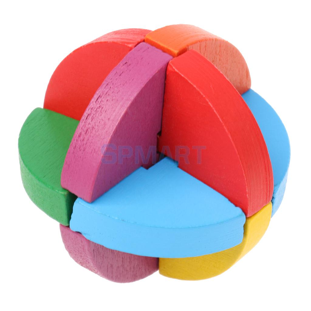 Classical Wooden Intelligence Toy Brain Teaser Game Burr Puzzle 3D Colorful Ball Puzzle for Kids Adult