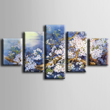 Wholesale 5 pieces / set of Beautiful plum series wall art for decorating home Decorative painting on canvas framedZT-3-18