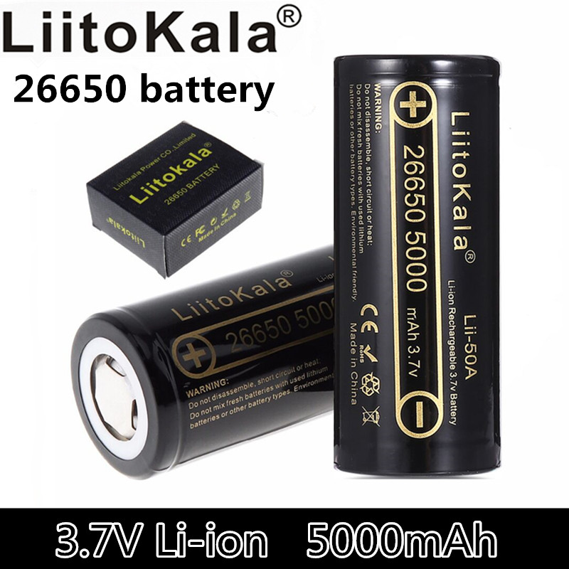 LiitoKala Lii-50A 26650 5000 mAh 26650-50A li-ion 3.7 V Rechargeable Battery for flashlight 20A new packaging image