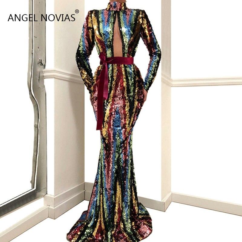 Manches longues col haut robe de soirée sirène musulmane 2019 élégante dentelle Caftan arabe robes de bal robes de soirée