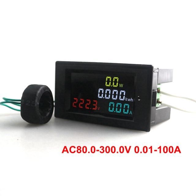 Digital Voltmeter Ammeter Amp Watt Power Energy Combo Meter Current Monitor AC 80-300V 100A HD Color 180 Degrees LED + CT Coil