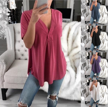 BF Leisure HIP HOP European and American womens V-neck short-sleeved shirt loose large size women Casual coat