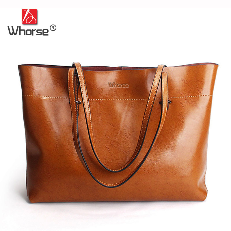 [WHORSE] Brand High Quality Women Genuine Leather Shoulder Bags Cowhide Ladies Casual Tote Bag Large Capacity WA5054-7 2017 esufeir brand genuine leather women handbag fashion shoulder bag solid cowhide composite bag large capacity casual tote bag