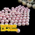 Pink Color 1.5mm~25mm All Size Choice Flat back ABS round Half Pearl beads, imitation plastic half pearl beads
