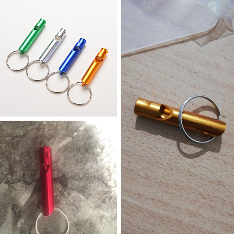 Golden 4.6cm Aluminum Alloy Emergency Whistle Survival Whistle with Key Ring Chain for Hiking Camping