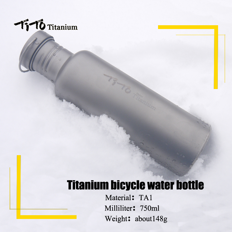 TiTo titane bouteille vélo boisson bouteille en plein air camping cyclisme randonnée Sport vélo titane couvercle 750 ml titane vélo bouteille