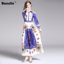 2019 Spring Summer Fall Runway Floral Print Collar Long Sleeve Turn Down Neck Empire Waist Women Lady Party Casual Maxi Dresses