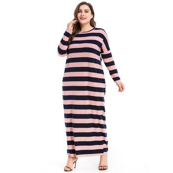 71b98ef32 2018 moda Abaya vestido musulmán largo Dubai abayas cuello redondo caftán  islámico vestidos Rosa vestidos 3XL 4XL