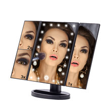 Layar Sentuh LED 22 Light Makeup Cermin Meja Desktop Makeup 1X/2X/3X/10X Pembesar Cermin Rias 3 Lipat Adjustable Cermin(China)