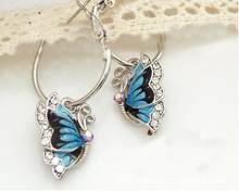 Fashion Elegant Charming Korea Silver Plated Blue Crystal Flying Butterfly Hoop Earrings for Women Girls Jewelry Best Gift(China)
