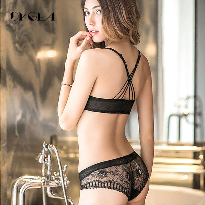 Buy New Arrivals Front Closure Bras Lace Embroidery Gathering Underwear Set Women Sexy VS Lingerie Black Thick  Push Bra Set