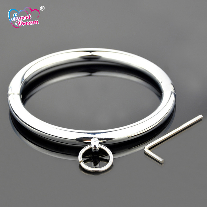 Sweet Dream 115mm Metal Stainless Steel Dog Neck Collar Slave BDSM Bondage Key Neck Cuff Adult Women Sex Toys for Couples LF-102
