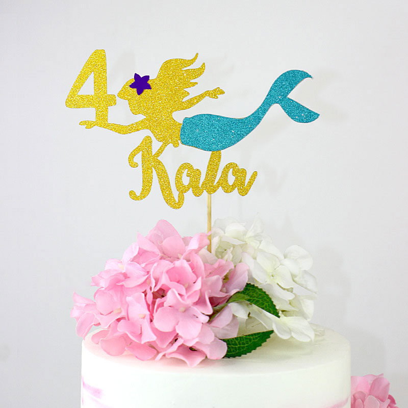 Your Names Personalised Cake topper Acrylic Glitter cake Decoration 769