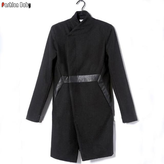 Patch de Couro Trench Coat de Lã dos homens Slim Fit Moda Gótica Outono Inverno Designer de Casaco Outerwear 2016