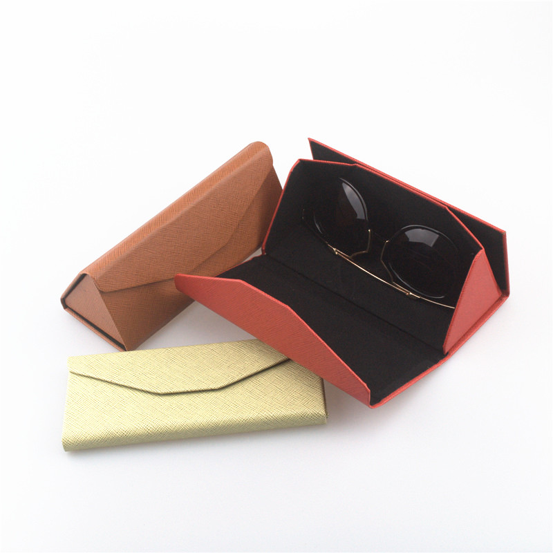 Fashion High Quality Folding Triangle Sunglasses Case Brand Design PU Leather Sunglass Box Personality Freeshipping
