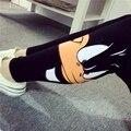 Весна/лето/осень стиль женщины Sexy Моды Аниме Bugs Bunny/утка черный Эластичность леггинсы тонкий Фитнес хлопок брюки черные
