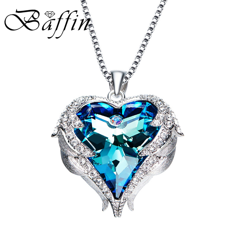 BAFFIN Beautiful Heart Maxi Pendant Necklaces Crystals From Austria For Women Luxury Jewelry 2018 Valentines Day Gifts