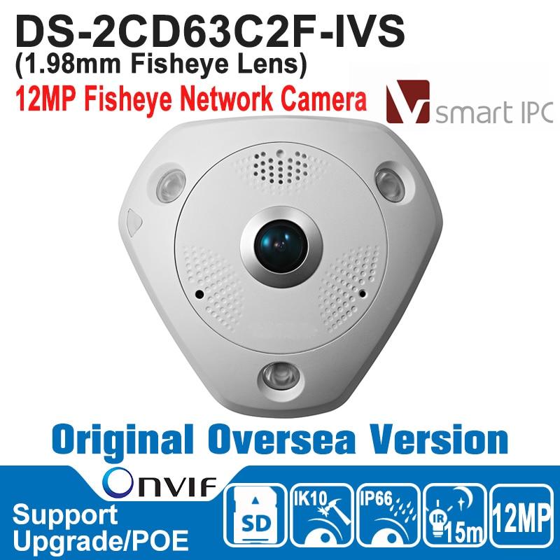 HIK NEW DS-2CD63C2F-IVS Hik IP Camera 12MP Outdoor POE 12 MP Network Fisheye Camera H.264/MJPEG ONVIF Built-in Micro SD eaton ivs katalog