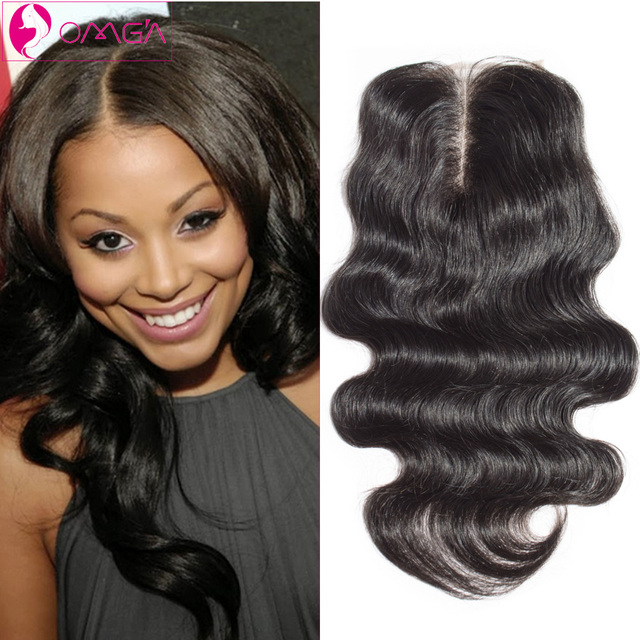 OMGA Brazilian Virgin Hair Lace Closure Body Wave Human Hair Extensions Free Middle Three Part  Lace Closure Body Wave Hair 4*4