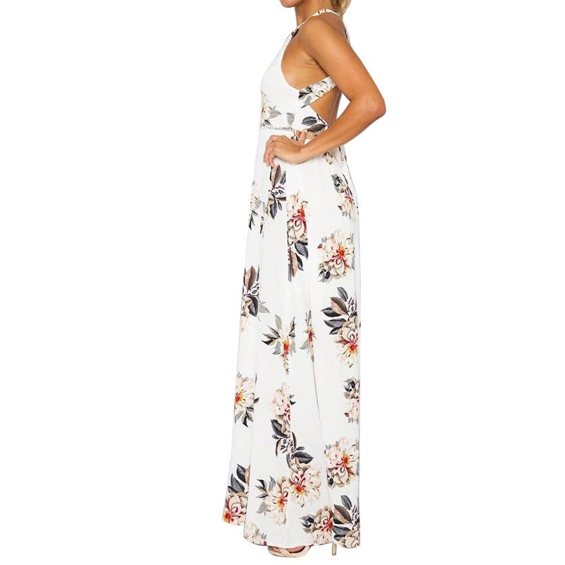 Womens Summer Sleeveless Halter Neck Evening Party Maxi Wrap Dress Bohemian Floral Lace Up Hollow Backless High Split Sundress in Dresses from Women 39 s Clothing