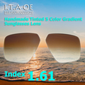 1.61 Index Cool Fashion 5 Colors Handmade Tinted Grident Prescription Sunglasses Optical Lens For Eyewear Frames Anti UV Scratch