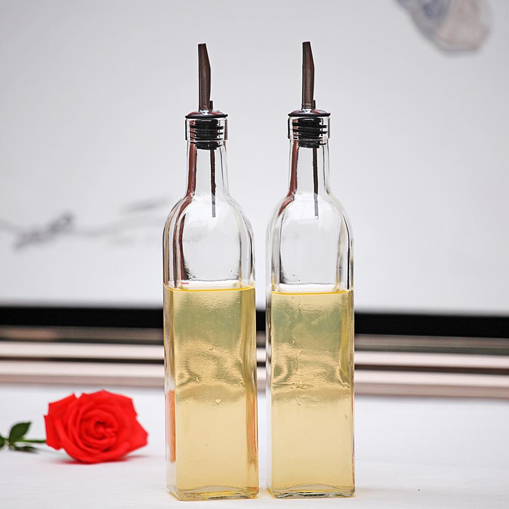 glass 2pcs 16oz oil dispenser kitchen liquid pourer w/ stainless