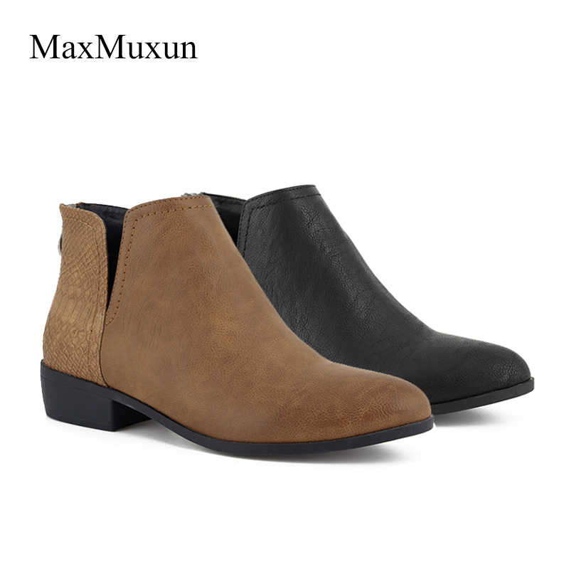 142e01ab3cf MaxMuxun Women's Low Block Heel Chelsea Ankle Rubber Boots Thick Heel  Female Footwear Jackboots Side Zipper Autumn Winter Shoes-in Ankle Boots  from ...