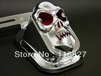 CHROME SKULL METAL PLATE BRACKET TOMBSTONE TAIL LIGHT FOR HARLEY CUSTOM CHOPPER
