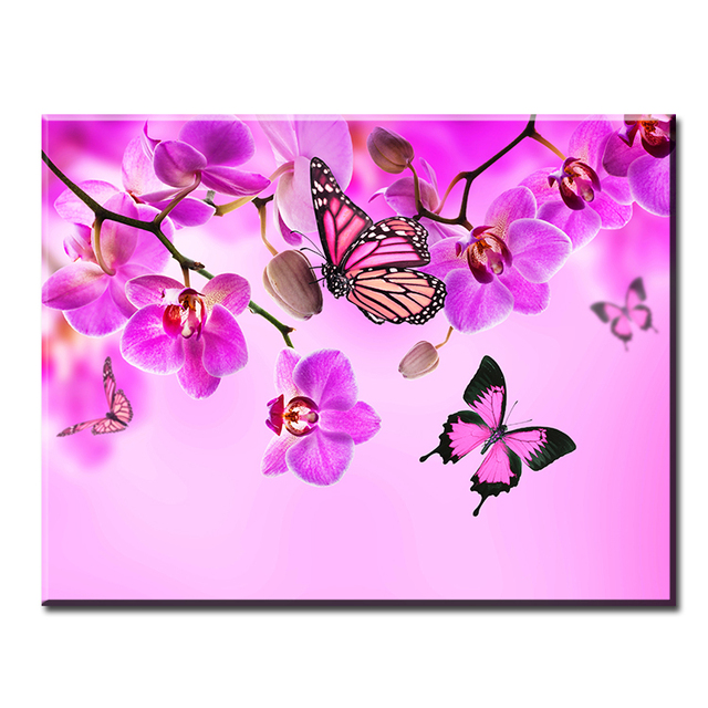 DP ARTISAN Flower With Butterfly ART Wall Painting Print On Canvas For Home  Decor Paints Wall