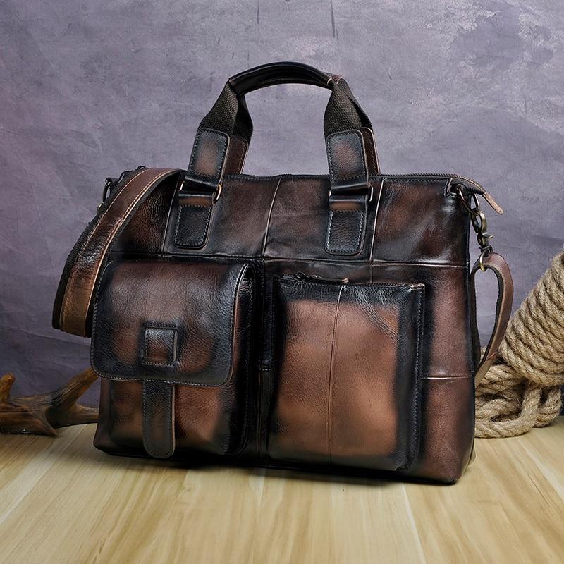 "HTB13Y4mtbvpK1RjSZPiq6zmwXXa6 Men Genuine Leather Office Maletas Business Briefcase 15.6"" Laptop Case Attache Portfolio Bag Maletin Messenger Bag B260"