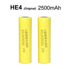 2pcs new Original for LG HE4 LGDBHE41865 18650 battery 3 7V 2500mAh HE4 Lithium Power Battery