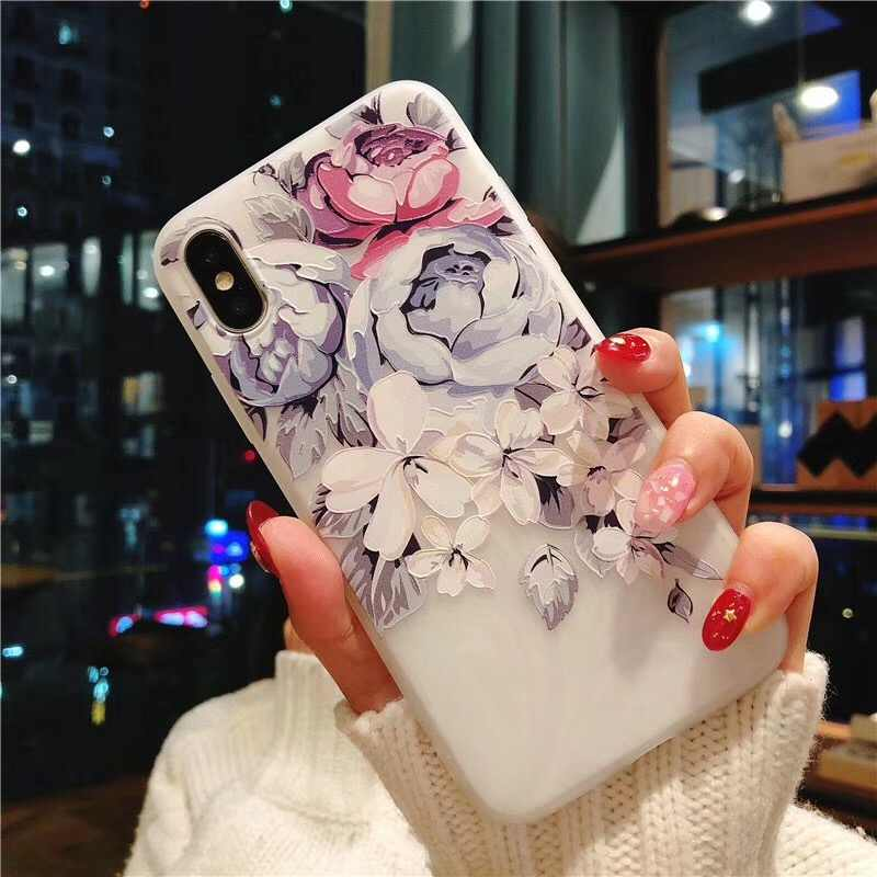 3D Alívio Peônia Flor Capa Para Samsung Galaxy A10 A20 A20E A30 A40 A50 A60 A70 2019 S10 Plus s10e silicone macio Caso Coque