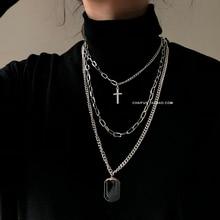 HUANZHI, новинка, индивидуальное, крестовое, квадратное, металлическое, многослойное, хип-хоп, длинная цепочка, Крутое, простое ожерелье для женщин, мужчин, ювелирное изделие, подарки