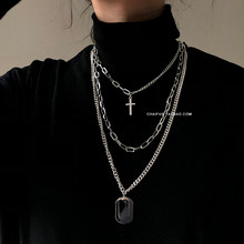 HUANZHI 2019 New Personality Cross Square Metal Multilayer Hip hop Long Chain Cool Simple Necklace For Women men Jewelry Gifts(China)