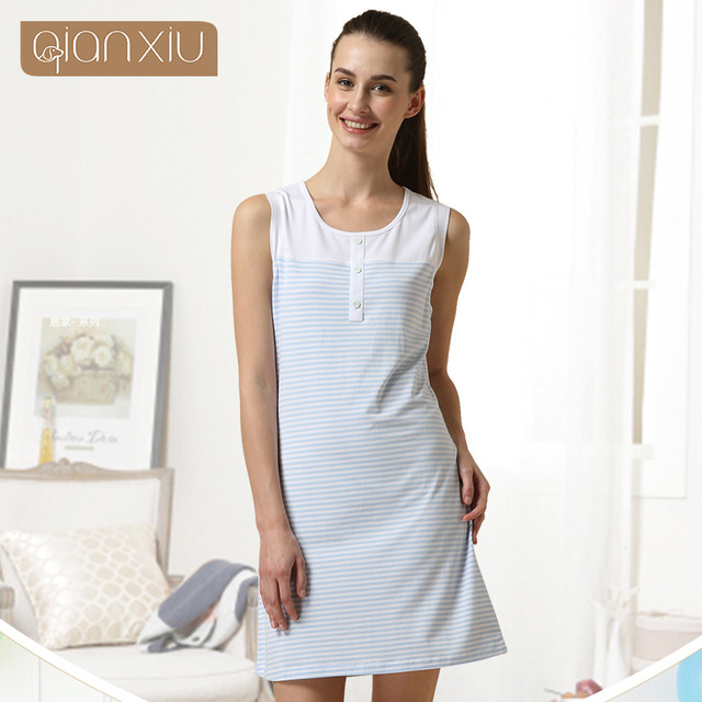 d79f52fad2 2019 Summer Brand quality Women Casual nightgown striped nightdress Laides  cotton sleeveless nighty dress Female sleepwear dress-in Nightgowns    Sleepshirts ...