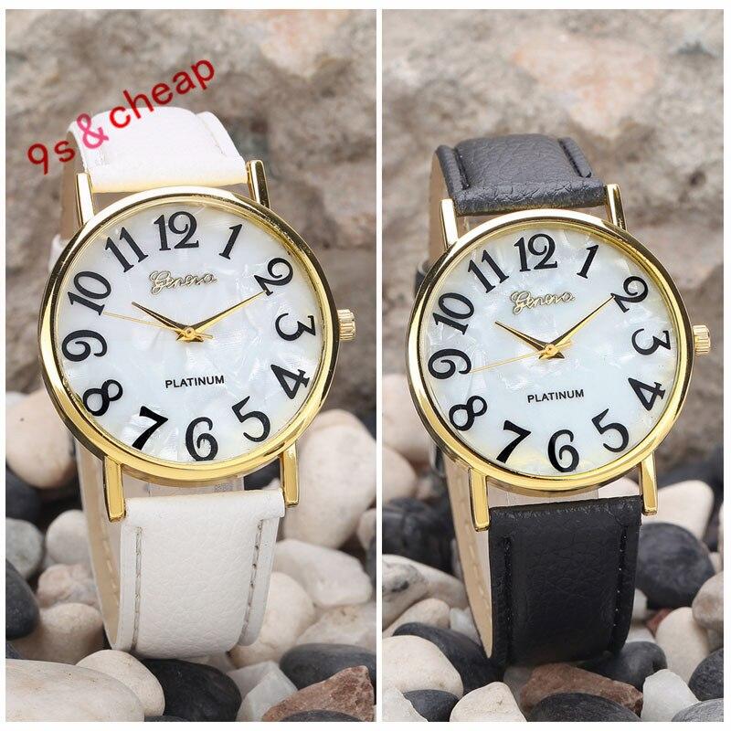 Women Retro Digital Dial Leather Band Quartz Analog Wrist Watch Watches   Free Shipping #270717