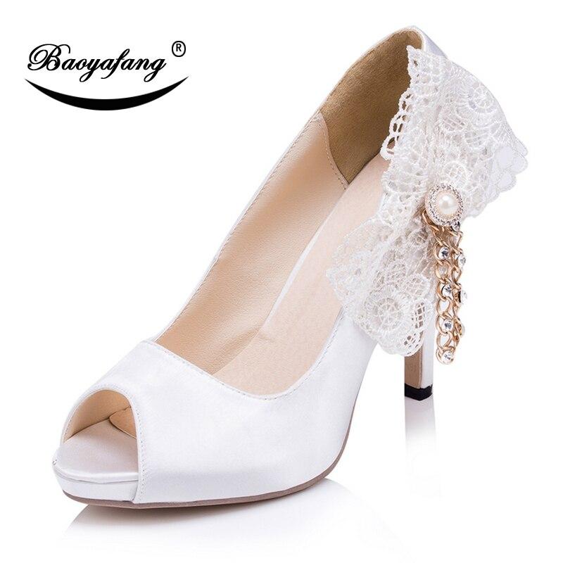 Heel Encaje Altos Mujer Zapatos Tacones 10 5cm Boda Vestido Novia Flor Peep  Baoyafang Toe Nupciales De Blanca Partido ... c090f4e973ec