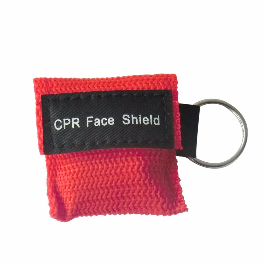 500Pcs CPR Mask CPR Face Shield Emergency Kit One-way Valve With Key Ring For First Aid Rescue Red Nylon Bag Wrapped 200 pcs pack cpr resuscitator keychain mask key ring emergency rescue face shield first aid cpr mask with one way valve