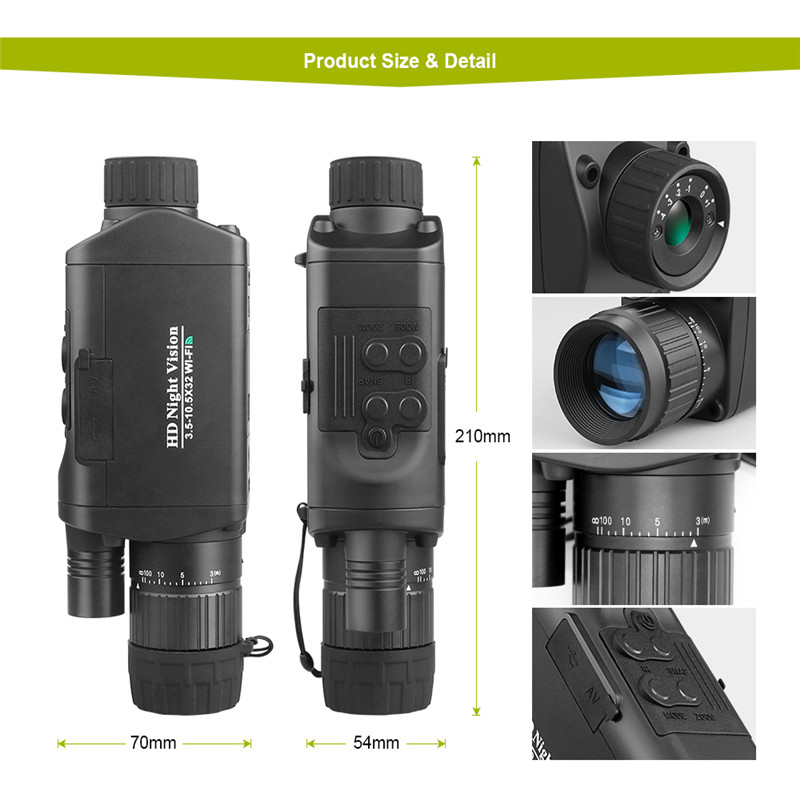 Image 3 - BOBLOV WiFi Hunting Night Vision Goggles 3X Monocular Telescope Digital Vision Night 3.5 10.5 x 32 Night Vision camera-in Night Visions from Sports & Entertainment
