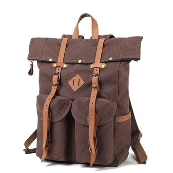 Genuine Leather Backpack Men Shoulder Bag Vintage Travel Bags