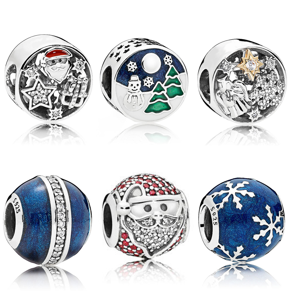 KAKANY PANDORES 100% 925 Sterling Silver Sparkling Jolly Santa Wintry Delight Midnight Blue Orbit Charm DIY Gift Ladies Gift