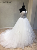 Vestidos De Noiva New 2018 Wedding Dresses Sweetheart Sleeveless Court Train A Line Appliques Tulle China