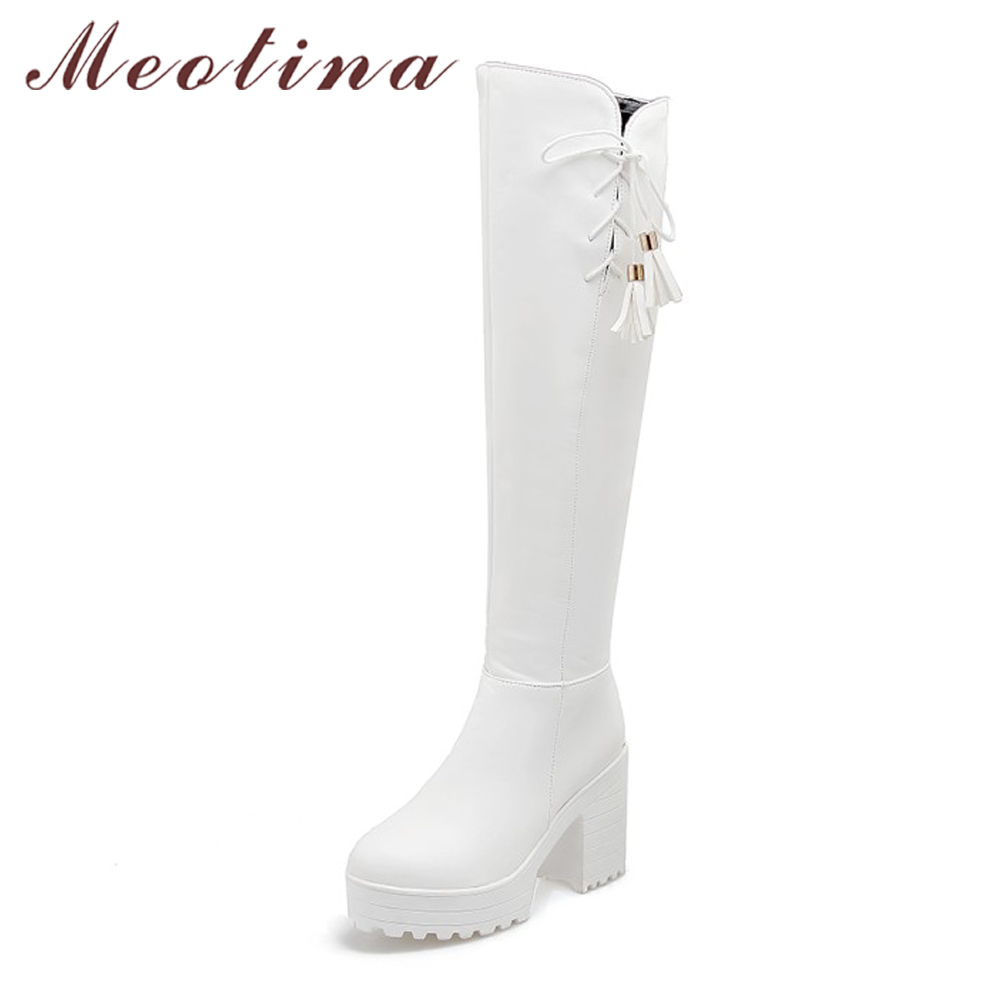 Meotina Winter Women Thigh High Boots Platform High Heel Boots Bow Over the Knee Boots Zip Sexy Shoes Big Size 34-43 White Black