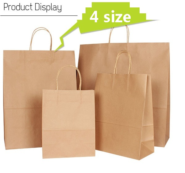 10PCS lot kraft paper bag with handle wedding font b party b font bag Fashionable cloth