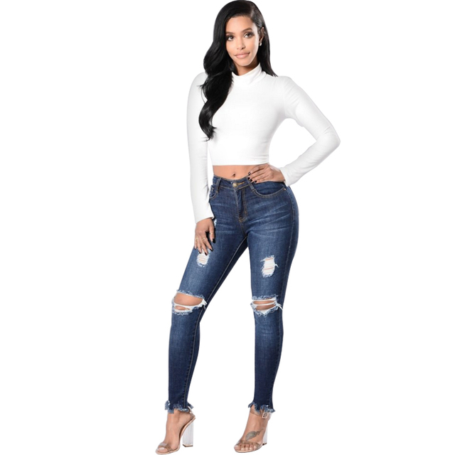 798bf52c821 High Waist Ripped Jeans For Women Denim Push Up Plus Size Distressed Knee  Cut Frayed Hem
