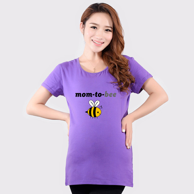 2017 Funny Maternity T Shirts Casual Bee Print Pregnancy Maternity Clothes Cotton Vestidos Summer 20